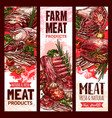raw fresh farm meat banners for butchery vector image