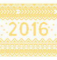 Christmas Knitted Yellow New Year 2016 card vector image
