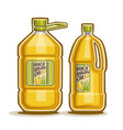 2 big yellow plastic bottles with rice bran oil vector image