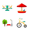 carousel sandbox park tricycle playground set vector image