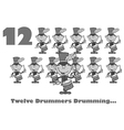 Twelve drummers drumming cartoon vector image