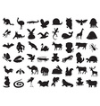 wild and domestic animals silhouette vector image