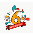 Colorful happy birthday number 6 flat line design vector image