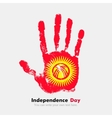 Handprint with the Flag of Kyrgyzstan in grunge vector image