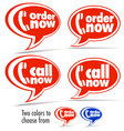 Call now Order now speech bubbles vector image