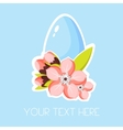 Easter greeting card with egg and pink apricot vector image