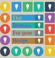 Light bulb icon sign Set of twenty colored flat vector image