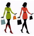 silhouettes of girls with shopping bags vector image