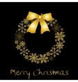 Christmas wreath with golden bow vector image vector image