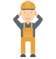 Stressful engineer clutching his head vector image