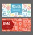 Computer online communication flyer banner posters vector image
