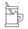 metal glass cup tea icon outline style vector image
