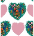 Macaw hearts seamless pattern Hand drawn vector image