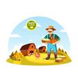 cartoon farmer man holding eggs and hen vector image