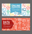 Computer online communication flyer banner posters vector image