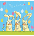Easter card with bunnies vector image