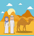 landscape of dry desert with arabic couple design vector image