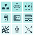 set of 9 machine learning icons includes vector image