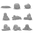 set of nine gray rock vector image