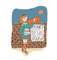 Girl with books caress cat on brick wall Lettering vector image
