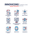 smart device - modern line icons set vector image