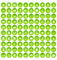 100 technology icons set green vector image vector image