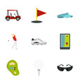 golf equipment icons set flat style vector image vector image
