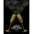 Merry christmas new year glass toast gold mosaic vector image vector image