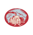House Homestead Cottage Woodcut vector image