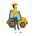 asian farmer standing on the background of tractor vector image