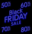 Black Friday Sale 50 60 70 80 retro light frame vector image