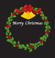 Christmas Wreath With Bells And Red Ribbon vector image