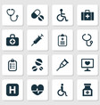 Drug icons set collection of chest handicapped vector image