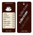 menu for coffee shop vector image