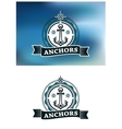 Ship anchor in round rope border vector image