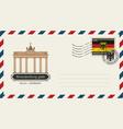envelope with postage stamp with brandenburg gate vector image