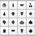 set of 16 editable fruits icons includes symbols vector image