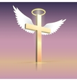 Angel wings nimbus and cross vector image