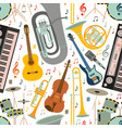 musical seamless pattern made of different musical vector image