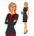 Businesswoman in red dress vector image vector image