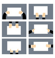Set hands and white sheet Billboard Blank paper in vector image