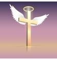 Angel wings nimbus and cross vector image