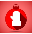 Christmas icon with the silhouette of the mittens vector image