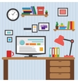 Flat of modern office interior designer desktop vector image