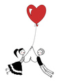 Girl and boy holding the string of flying red hear vector image
