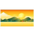 Sunset over mountain landscape vector image