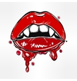 Sexy vampire lips with fangs and dripping blood vector image