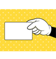 Hands holding card vector image