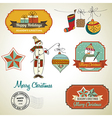 Collection of vintage Christmas decorative vector image