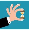 Hourglass in hands vector image